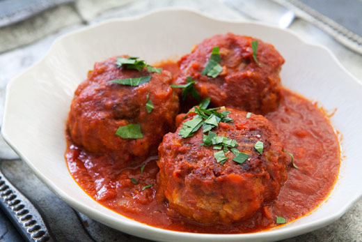 Meaty Meatballs with spelt spaghetti